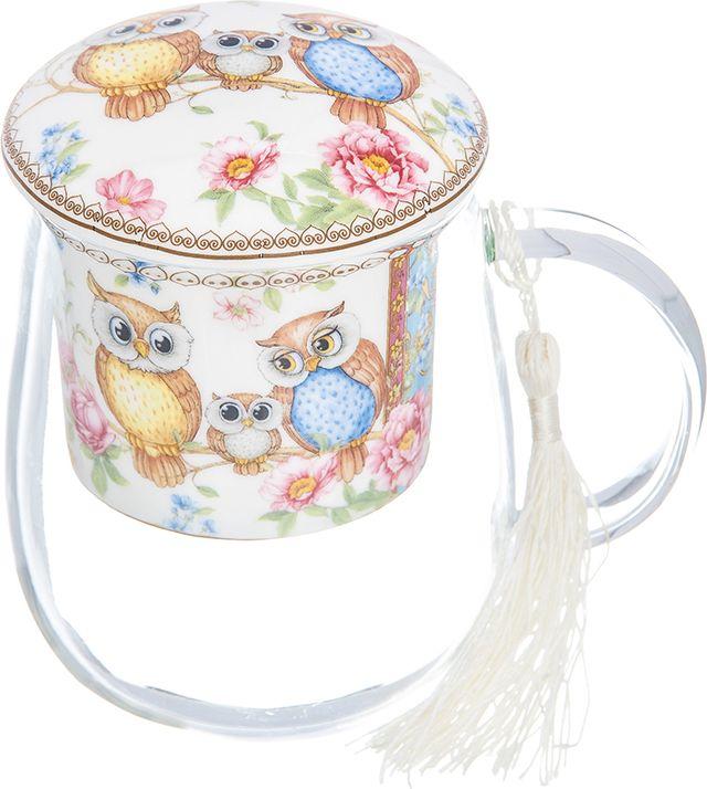 Кружка Elan Gallery Совушки, с ситом и крышкой, 400 мл420158Кружка из стекла для заваривания чая Совушки. В комплекте кружка, крышка, фарфоровое сито. Изделие имеет подарочную упаковку, поэтому станет желанным подарком для Ваших близких. Объем 400 мл.