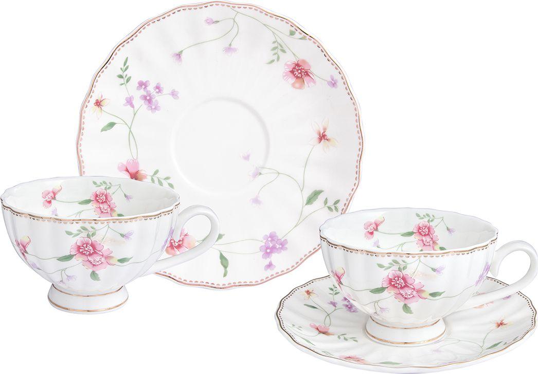 Набор чайный Elan Gallery Диана, 4 предмета730685Чайный пара на 2 персоны из серии Диана в красивой подарочной упаковке. Легкие изящные чашки на ножке объемом 190 мл, большие блюдца. Этот чайный сервиз подходит для праздничного стола и является великолепным подарком!