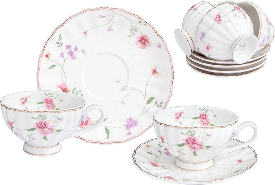 Набор чайный Elan Gallery Диана, 12 предметов730686Великолепный чайный набор Elan Gallery Диана на 6 персон станет шикарным подарком.В комплекте 6 чашек объемом 190 мл, 6 блюдец.Изделия выполнены из фарфора. Соберите всю коллекцию предметов сервировки Диана и ваши гости будут в восторге!