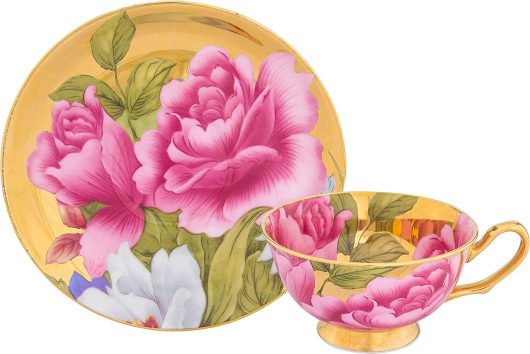 Чайная пара Elan Gallery Пионы, цвет: золотистый, 2 предмета801155Чайный пара Elan Gallery Пионы на 1 персону в красивой подарочной упаковке. Легкая изящная чашка на ножке объемом 220 мл, большое блюдце.Этот чайный набор подходит для праздничного стола и является великолепным подарком!