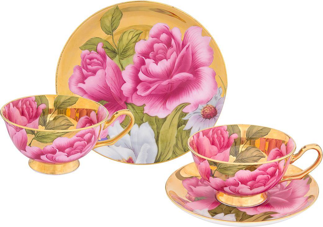 """Набор чайный Elan Gallery """"Пионы"""", цвет: золотистый, 4 предмета"""