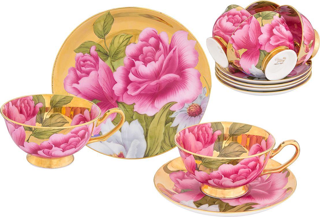 """Набор чайный Elan Gallery """"Пионы"""", цвет: золотистый, 12 предметов"""