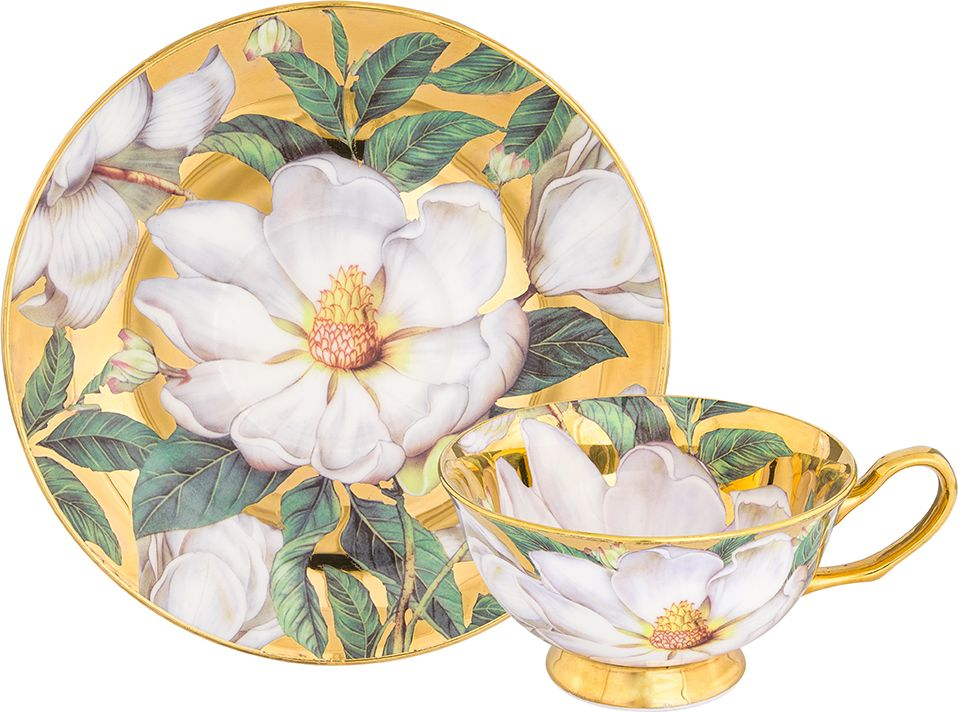 """Чайная пара Elan Gallery """"Белый шиповник"""", цвет: золотистый, 2 предмета"""