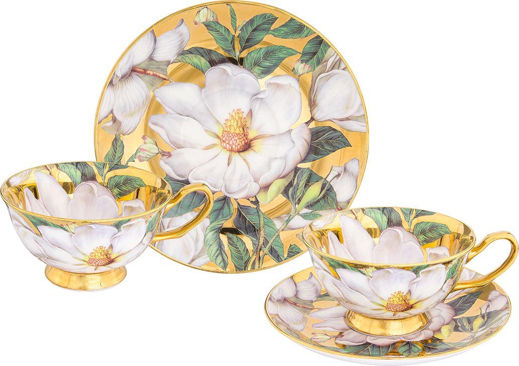 Набор чайный Elan Gallery Белый шиповник, цвет: золотистый, 4 предмета набор чайный декостек живая природа подсолнух 4 предмета 1919596