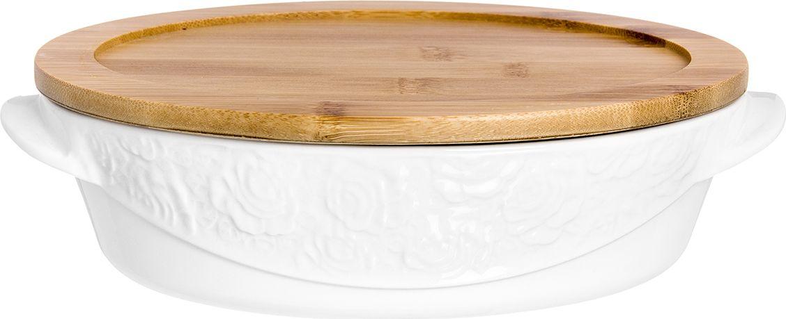 Блюдо Elan Gallery Белые розы, с крышкой-подставкой , 24,5 х 16,7 х 7 см860036Блюдо для запекания и сервировки в стиле современной классики универсально и очень удобно. Блюдо с ручками для удобства. Деревянная подставка позволит избежать повреждения поверхности. Размер 24,5х16,7х7 см. Объем 1,1 л.