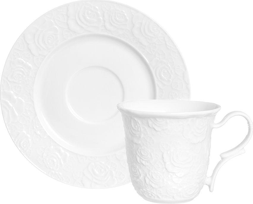 Чайная пара Elan Gallery Белые розы, 2 предмета860043Чайный набор на 1 персону украсит Ваше чаепитие. В комплекте 1 чашки объемом 210 мл, 1 блюдце. Изделие имеет подарочную упаковку, поэтому станет желанным подарком для Ваших близких!