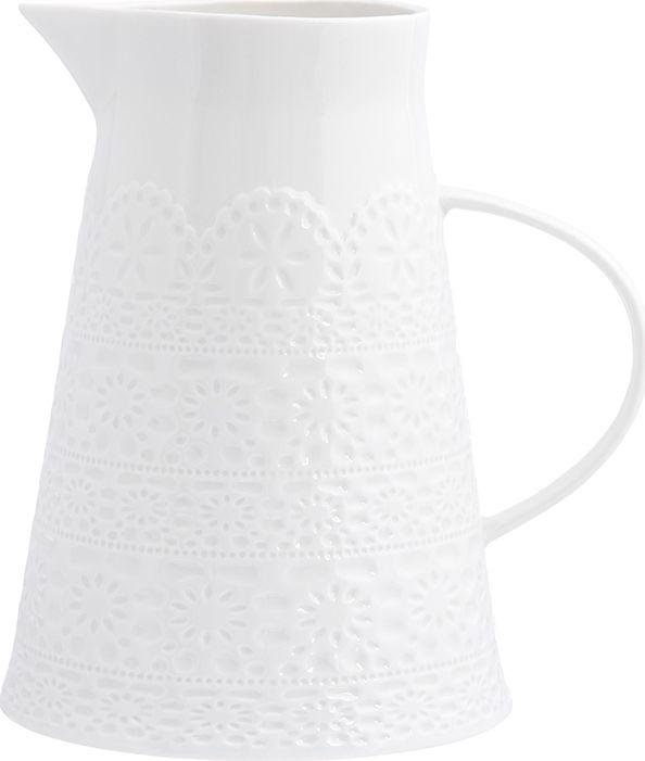 Кувшин Elan Gallery Кружево, 1,2 л950073Кувшин из колллекции Кружево оснащен удобной ручкой. Прекрасно подходит для подачи воды, сока, компота и других напитков. Изящный кувшин красиво оформит стол и порадует вас элегантным дизайном. Объем 1200 мл.