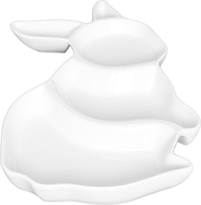 Менажница Elan Gallery Заяц, цвет: белый, 26 х 17 х 3 см950081Менажница Elan Gallery Заяц - это великолепная идея для эстетичной и удобной сервировки вашего стола! Изделие имеет подарочную упаковку, поэтому станет желанным подарком для ваших близких! Размер 26 х 17 х 3 см.
