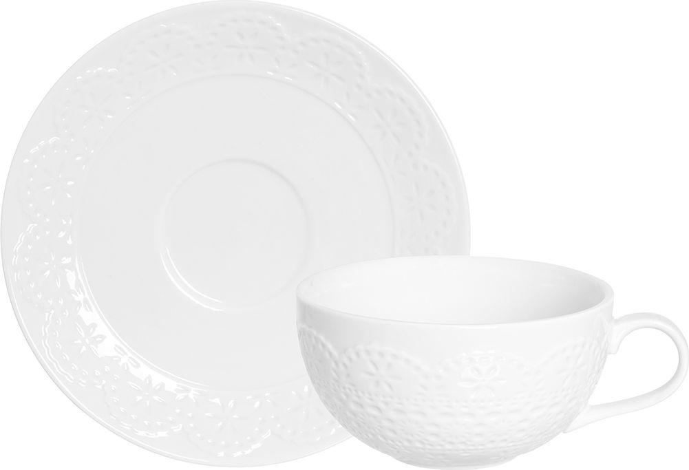 Кофейная пара Elan Gallery Кружево, цвет: белый, 2 предмета950082Кофейная пара Elan Gallery Кружево на 1 персону станет шикарным подарком для ваших близких. В комплекте: 1 чашка объемом 350 мл, 1 блюдце.Изделие имеет подарочную упаковку.