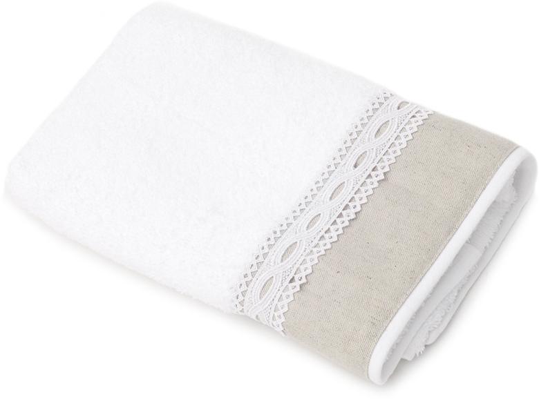 Полотенце для ванной Wess Soledad, цвет: белый, серый, 50 х 80 смL02-18Нежность мягкого хлопка и охлаждающая легкость льна, очарование ажурного кружева и вышивки овладевают вашим сердцем с первого взгляда и прикосновения. Произведено в Португалии из длинноволокнистого хлопка премиум-сортов. Особая пряжа обладает отличными водопоглощающими свойствами, гипоаллергенностью, мягкостью и объемом. Полотенце имеет удобную бренд-петельку.