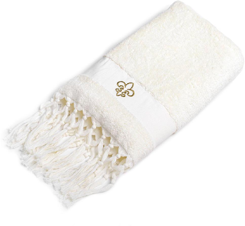 Полотенце для ванной Wess Aufollien Provence, цвет: молочный, 70 х 140 смL03-03Создать завершенный интерьер ванной комнаты в стиле прованс позволяют полотенца с изящными кисточками и декоративными элементами в виде королевских линий. Особенностью полотенец является наличие лейбл-петельки и со вкусом выполненная подарочная брендированная упаковка. Полотенца надлежащего качества возврату и обмену не подлежат.