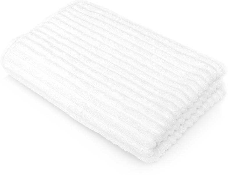 Полотенце для ванной Wess Meridiano, цвет: белый, 70 х 140 смL03-04Рельефный жаккардовый рисунок в виде полосок придется по вкусу ценителям современного дизайна. Произведено из индийского длинноволокнистого хлопка премиум-сортов. Особая пряжа обладает отличными водопоглощающими свойствами, гипоаллергенностью, мягкостью и объемом.Плотность 550 г/кв.м. Полотенца надлежащего качества возврату и обмену не подлежат.