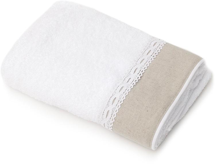 Полотенце для ванной Wess Soledad, цвет: белый, серый, 70 х 140 смL03-18Нежность мягкого хлопка и охлаждающая легкость льна, очарование ажурного кружева и вышивки овладевают вашим сердцем с первого взгляда и прикосновения. Произведено в Португалии из длинноволокнистого хлопка премиум-сортов. Особая пряжа обладает отличными водопоглощающими свойствами, гипоаллергенностью, мягкостью и объемом. Полотенце имеет удобную бренд-петельку.