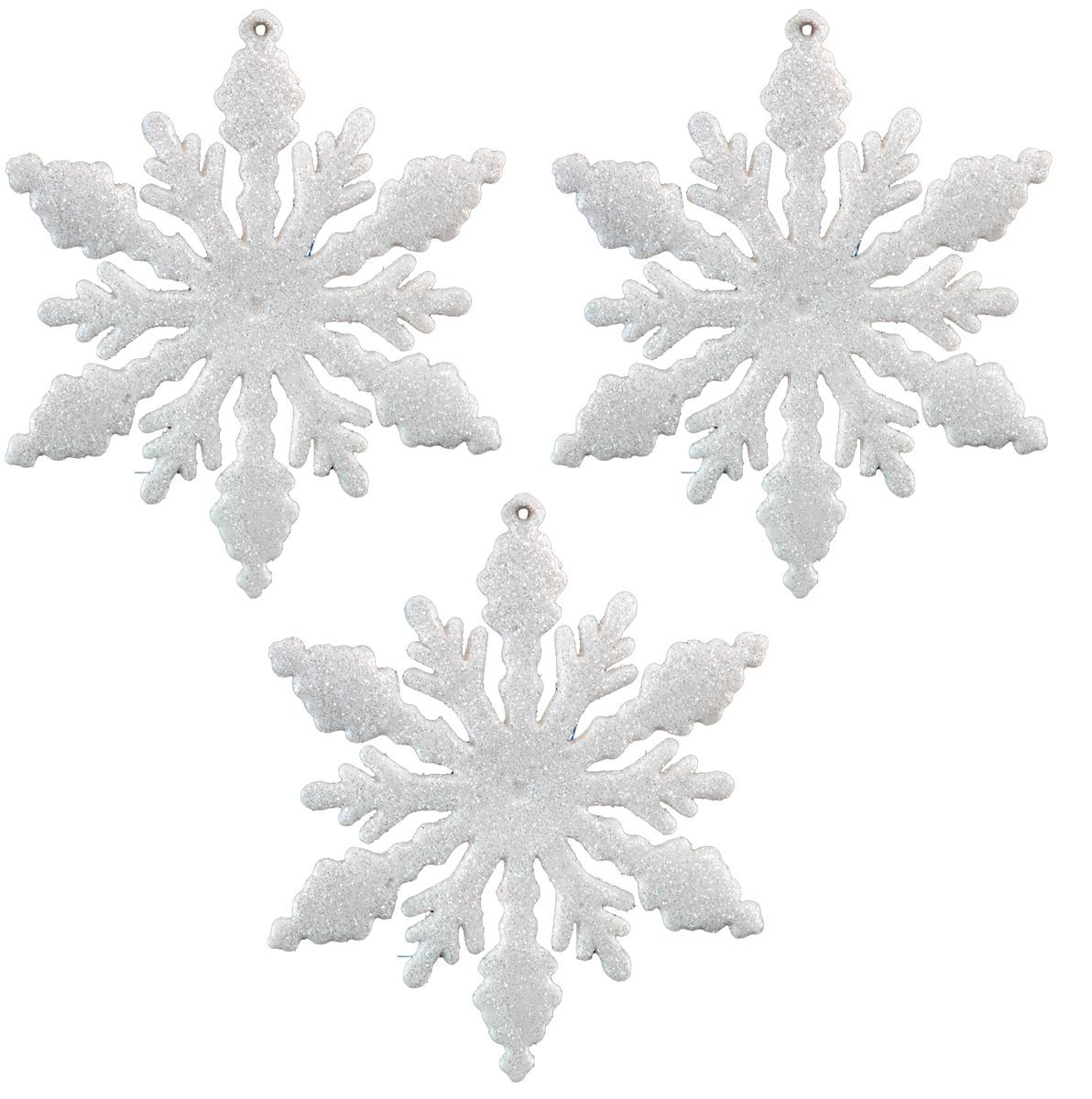 Набор новогодних украшений для интерьера Erich Krause Снежинки белоснежные, 13 см, 3 шт44193Набор состоит из трех плоских белых снежинок, покрытых блестками. Диаметр каждой снежинки 13 см, поэтому подходят для декорирования больших елок или оформления интерьера.Новогодние украшения всегда несут в себе волшебство и красоту праздника. Создайте в своем доме атмосферу тепла, веселья и радости, украшая его всей семьей.