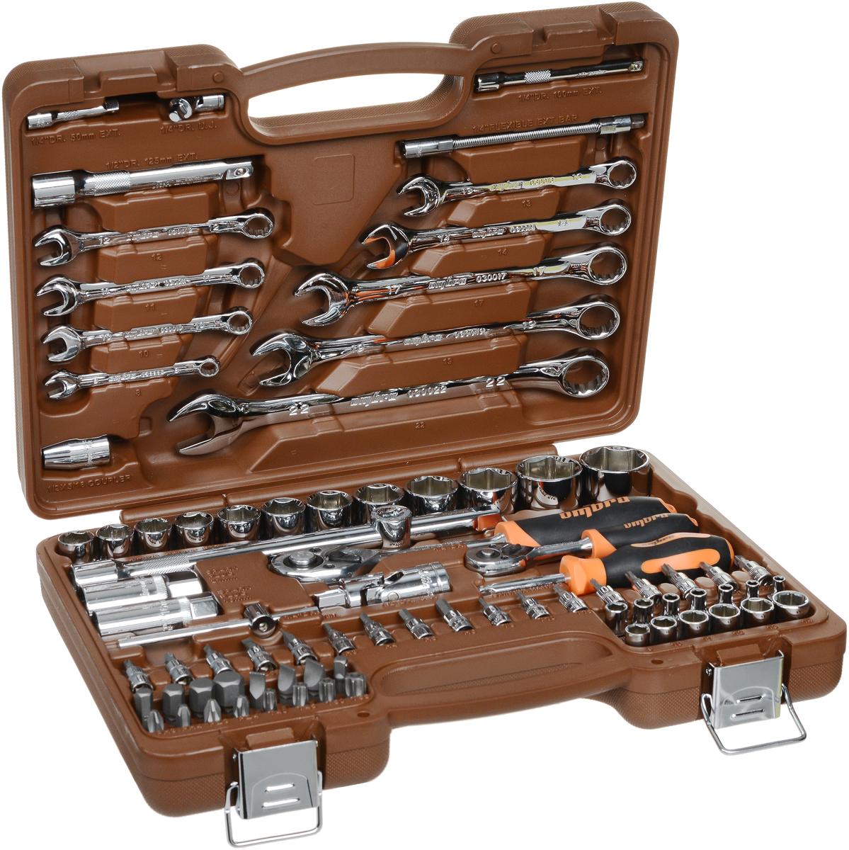 Набор инструментов Ombra, 82 предмета. OMT82SOMT82SНабор инструментов Ombra состоит из 82 предметов и предназначен для монтажа/демонтажа резьбовых соединений. Предметы наборавыполнены из высококачественной стали. Инструменты соответствуют высоким стандартам качества, поэтому подойдут как для использованияна бытовом уровне, так и для применения в профессиональной сфере. Состав набора: 1/4: Головки шестигранные: 4 мм, 4,5 мм, 5 мм, 5,5 мм, 6 мм, 7 мм, 8 мм, 9 мм, 10 мм, 11 мм, 12 мм, 13 мм, 14 мм. Головки со вставками: H3, H4, H5, H6, T8, T10, T15, T20, T25, T30, SL4, SL5,5, SL7, PH1, PH2, PZ1, PZ2. Трещотка с быстрым сбросом. Т-образный вороток. Удлинители: 50 мм, 100 мм. Карданный шарнир. Гибкий удлинитель. Отверточная рукоятка. Адаптер для бит. 1/2: Шестигранные головки: 14 мм, 15 мм, 16 мм, 17 мм, 18 мм, 19 мм, 21 мм, 22 мм, 24 мм, 27 мм, 30 мм, 32 мм. Биты 5/16, 30 мм: H8, H10, H12, H14, T40, T45, T50, T55, SL8, SL10, SL12, PH3, PH4, PZ3, PZ4. Карданный шарнир. Удлинители: 125 мм, 250 мм. Трещоточная с быстрым сбросом. Головки свечные: 16 мм, 21 мм. Держатель для бит: 1/2DR x 5/16. Адаптер трехсторонний. Комбинированные ключи: 8 мм, 10 мм, 11 мм, 12 мм, 13 мм, 14 мм, 17 мм, 19 мм, 22 мм.