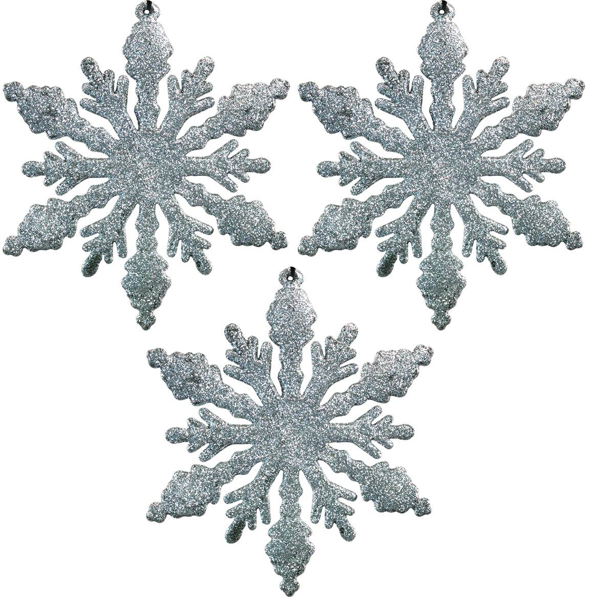 Набор новогодних украшений для интерьера Erich Krause Снежинки серебряные, 13 см, 3 шт44192Набор состоит из трех плоских снежинок, полностью покрытых серебряными блестками. Диаметр каждой снежинки 13 см, поэтому подходят для декорирования больших елок или оформления интерьера. Новогодние украшения всегда несут в себе волшебство и красоту праздника. Создайте в своем доме атмосферу тепла, веселья и радости, украшая его всей семьей.