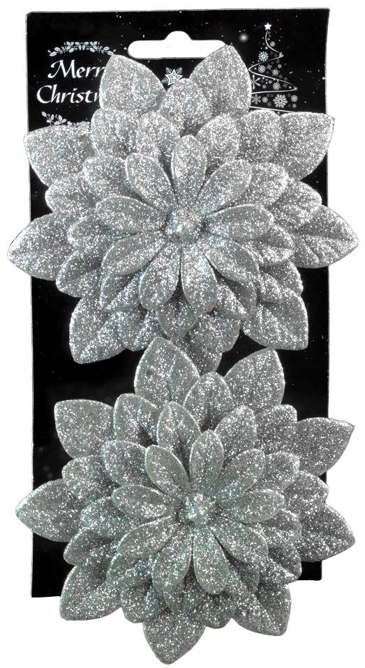 Набор новогодних украшений для интерьера Erich Krause Цветок серебряный, на клипе, 11 см, 2 шт44189Набор состоит из двух серебряных цветков, выполненных из пластика. Диаметр каждого изделия 11 см. При помощи аккуратного металлического клипа Вы можете прикрепить украшение на еловую ветку или использовать его в оформлении интерьера. Упаковка - картонная подложка с европодвесом размещена внутри полибэга.