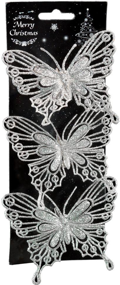 Набор новогодних украшений для интерьера Erich Krause Бабочки, на клипе, 10,5 см, 3 шт44186Набор состоит из трех серебряных бабочек, выполненных из пластика. Длина каждой бабочки 10.5 см. При помощи аккуратного металлического клипа вы можете прикрепить украшение на еловую ветку или использовать его в оформлении интерьера. Коллекция декоративных украшений принесет в ваш дом ни с чем не сравнимое ощущение волшебства! Откройте для себя удивительный мир сказок и грез.