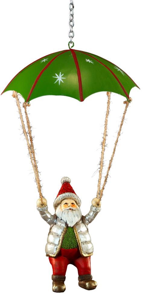 Украшение для интерьера новогоднее Erich Krause Санта на парашюте, 14 см43947Оригинальное украшение в виде Санты, спускающегося на парашюте - необычное решение для праздничного декора. С помощью крючка на цепочке украшение легко крепится в любое подходящее место и меняет интерьер. Фигурка Санты выполнена из полирезины, парашют - из металла. Новогодние украшения всегда несут в себе волшебство и красоту праздника. Создайте в своем доме атмосферу тепла, веселья и радости, украшая его всей семьей.