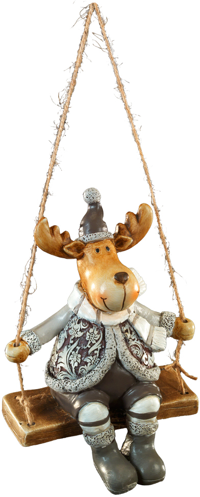 Сувенир новогодний Erich Krause Лось на качелях, 15 см bearington лось 25 см bearington
