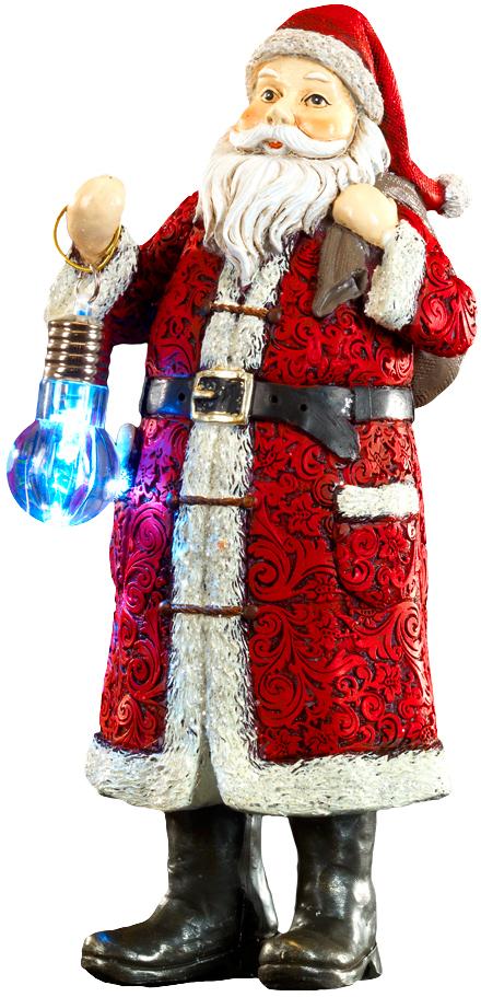 Сувенир новогодний Erich Krause Дед Мороз с лампой, 24,5 см43942Сувенир в виде исконно русского Деда Мороза выполнен из полирезины. Красивое пальто украшено резным узором вьюги. Лампа горит очень ярко, включается легким нажатием сверху цоколя; работает от 3 батареек-таблеток LR41, которые входят в комплект. Новогодние украшения всегда несут в себе волшебство и красоту праздника. Создайте в своем доме атмосферу тепла, веселья и радости, украшая его всей семьей.