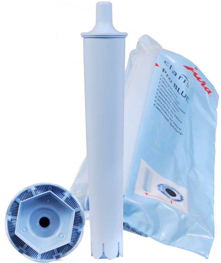 Jura Claris Pro 71702 Blue, фильтр для кофемашин71702Фильтр для воды Claris Blue для кофемашин Jura. Пропускная способность фильтра: до 50 литров воды или 2 месяца эксплуатации. Подходит для моделей: Кофемашины JURA ENA, а также кофемашины JURA IMPRESSA, которые комплектуются фильтром голубого цвета при продаже.