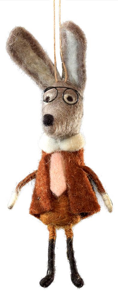 Украшение для интерьера новогоднее Erich Krause Братец кролик, 20 см42899Сувениры из валяной шерсти являются модным Трендом сезона. Братец Кролик в костюме очаровывает изящными деталями: очками, галстуком и воротничком. Изделие оснащено веревочкой для подвешивания, но также будет убедительно смотреться и на рабочем столе. Новогодние украшения всегда несут в себе волшебство и красоту праздника. Создайте в своем доме атмосферу тепла, веселья и радости, украшая его всей семьей.