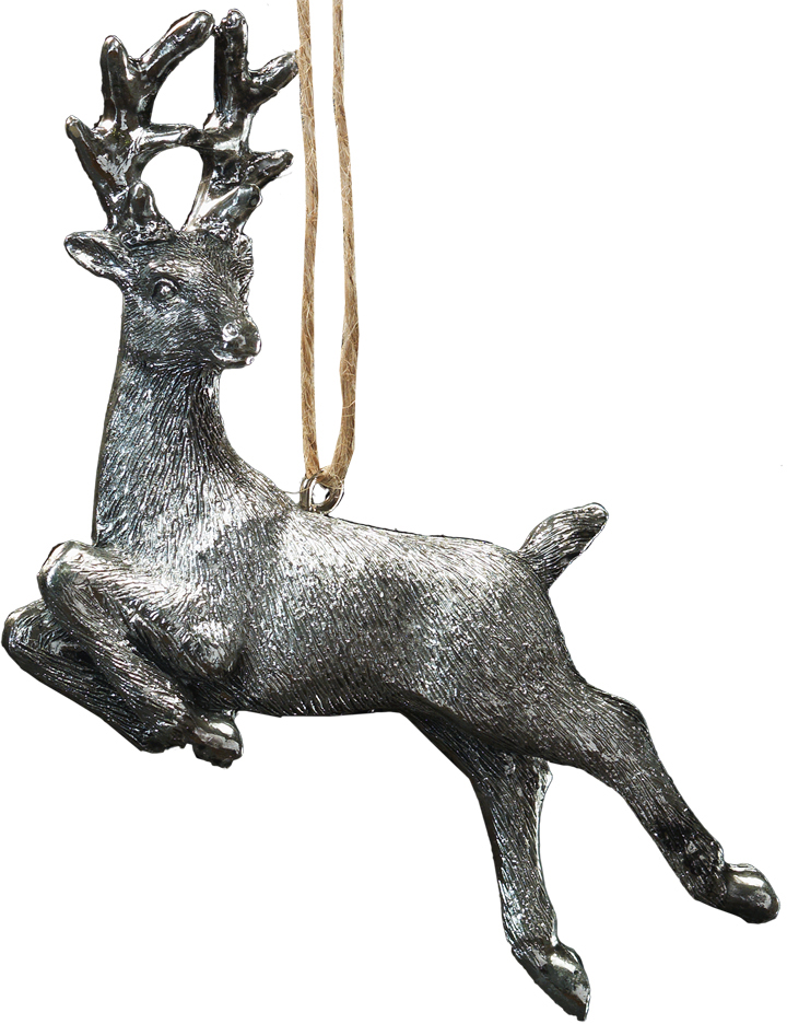 Украшение для интерьера новогоднее Erich Krause Серебряное Копытце, 10 см41268Миниатюрное украшение в виде оленя напоминает изделие из олова. Необычная рельефная текстура. Доступна отгрузка поштучно.
