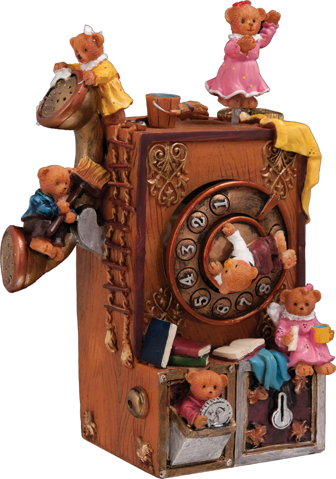 Сувенир новогодний Erich Krause Медвежья телефонная станция, музыкальный, 17,5 см36553Это не просто музыкальная шкатулка, это целая медвежья телефонная станция! Вращается медведь в центре циферблата, сам циферблат, медвежонок сверху двигается влево-вправо, и все действие сопровождается приятной мелодией. Заводится механически при помощиНовогодние украшения всегда несут в себе волшебство и красоту праздника. Создайте в своем доме атмосферу тепла, веселья и радости, украшая его всей семьей.