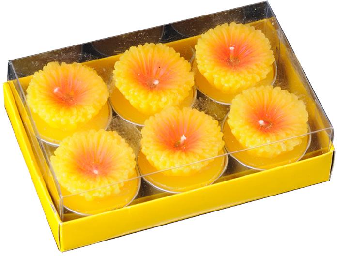 Набор состоит из шести свечей-картриджей, каждая из которых имеет объемную форму желтого цветка маргаритки.