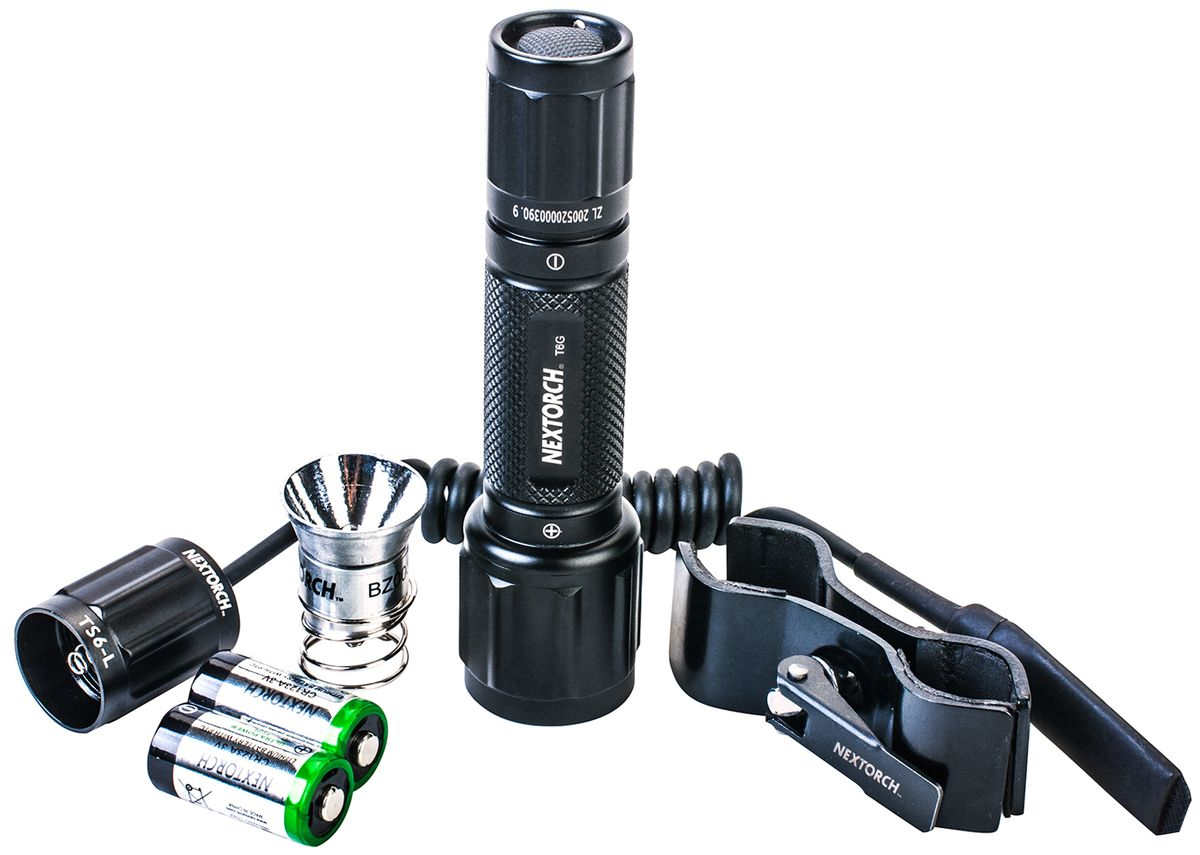 Фонарь тактический Nextorch T6G Set, с кронштейном и выносной кнопкой, цвет: черныйT6G setКомплект - фонарь тактический Nextorch T6G Set светодиод белый (350 люмен), зеленый (200 люмен), кронштейн, выносная кнопка, 2 x CR123A.В серии T (Tactical) применяются наиболее передовые технологии. Высокая яркость и надежность, дальность луча и водозащищенность - вот особенности моделей данного ряда фонарей Nextorch. Чтобы удовлетворить растущий спрос рынка, Nextorch предоставляет наиболее полный спектр аксессуаров для фонарей. Комплект T6G Set включает светодиодный фонарь T6G, кронштейн для установки фонаря, выносную кнопку для более удобного использования фонаря, две батареи CR123A и дополнительную светодиодную лампочку зеленого цвета. В комплекте имеется кронштейн RM85 для установки фонаря. Кронштейн может быть установлен на трубу диаметром 25 мм. 6 мм - 30 мм для фонарей с диаметром корпуса 20 мм - 28 мм. Данная модель кронштейна подходит для установки фонарей T6A, T6A LED SET, TA3 SET, T6L R5 SET, GT6A Series, myTorch 18650, myTorch 3AAA, myTorch RC 18650, myTorch RC 3AAA, myTorch XL, TA3, P8A. Режимы работы:1. Полная яркость: 350 люмен. Технические характеристики:Светодиод: LED CREE R5 белый/зеленый. Тип батареи: 2 х CR123A 3V. Материал корпуса: авиационный алюминий 6061-T6 с анодированным покрытием. Линза: стекло. Мощность светового потока: 350 Лм (белый)/200 Лм (зеленый). Время работы: 100 минут. Дистанция: 143 м. Водонепроницаем: до 10 м. Ударопрочность: 1 м. Диаметр головы: 34 мм.Диаметр корпуса: 25 мм.Общая длинна: 125 мм.Комплектация: фонарь, кронштейн, выносная кнопка, батарейки 2 х CR123A, лампа зеленая.Компания Nextorch уделяет особенное внимание производству инновационных переносных осветительных приборов. Применение самых передовых технологий освещения позволяет использовать максимально яркие источники света, достигая при этом невероятной эффективности и исключительной долговечности элементов питания. Использование материалов аэрокосмических технологий - алюм