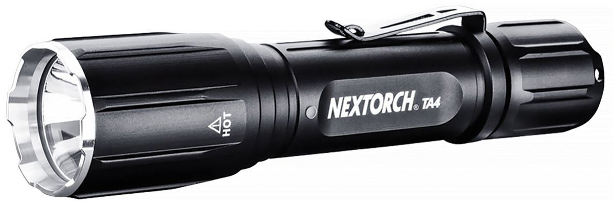 Фонарь ручной Nextorch TA4, цвет: черныйTA4Фонарь аккумуляторный Nextorch TA4 светодиодный 460 люмен, 7 режимов, клипса и USB кабель. Подствольный фонарь TA4 относится к серии T (Tactical). В серии T (Tactical) применяются наиболее передовые технологии. Высокая яркость и надежность, дальность луча и водозащищенность - вот особенности моделей данного ряда фонарей Nextorch. Чтобы удовлетворить растущий спрос рынка, Nextorch предоставляет наиболее полный спектр аксессуаров для фонарей. Режимы работы:1. Быстрое включение/выключение. 2. Полная яркость - 460 люм. 3. Свечение яркое - 200 люм. 4. Свечение среднее - 100 люм. 5. Свечение слабое - 10 люм. 6. Стробоскоп. 7. S. O. S. Блок головы интегрирован с корпусом фонаря и представляет единое целое. Это позволяет фонарю выдерживать самые суровые испытания. Так же фонарь снабжен ударной головкой типа Attack Head. У фонаря на корпусе имеется клипса для удобного ношения фонаря. У основания блока головы расположен индикатор заряда батареи. Индикатор срабатывает и начинает гореть красным цветом, только когда необходимо произвести зарядку или замену батарей. На блоке кнопки имеется разъем для подключения выносной кнопки или через USB провод зарядного устройства. Кнопка фонаря может нажиматься щелчком или легким касанием. Щелчком - для быстрого включения и выключения, а касанием - для переключения режимов. Технические характеристики:Светодиод: CREE XP-G2 R5. Тип батареи: 1 х 18650 аккумулятор / Батарейки 2хCR123A. Мощность светового потока, Лм: 460 / 200 / 100 / 10 / srtobe. Время работы : 1час 20 мин. / 2часа40мин / 5часов50 мин. / 5часов / ? . Дистанция: 210м. Материал корпуса :Авиационный алюминий 6061-T6 с анодированным покрытием. Водонепроницаемость: до 2м. Ударопрочность: до 3м. Диаметр головы: 34 ммДиаметр корпуса: 25, 4 ммОбщая длинна: 147 ммВес с упаковкой: 260 гКомплектация: Фонарь, 1 х 18650 аккумулятор, наручный ремешок, чехол для ношения на поясном ремне, USB провод. Компания Nextorch уделяет особенное внимание произв