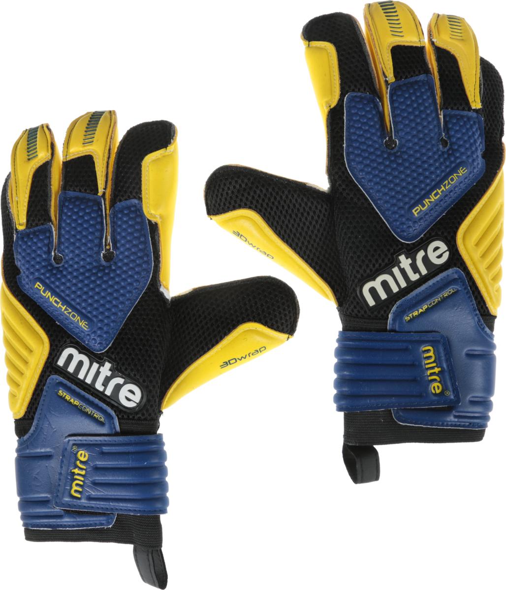Перчатки вратарские Mitre Brz Pro, цвет: черный, желтый, синий. Размер 10GL254Перчатки вратарские Mitre Brz Pro имеют сетчатую тыльную сторону для лучшей вентиляции. Каждая пара перчаток конструирована для обеспечения максимальных игровых качеств, удобстваи защиты.Внутренняя часть ладони покрыта латексом для наилучшего сцепления. Сетчатые вставки на пальцах. Выделенная зона для отражения мяча кулаком на тыльной стороне перчатки. Конструкция ладони для гашения удара при схватывании мяча. Объемная конструкция в ключевых зонах. Эластичное запястье и фиксация на липучке. Чтобы обеспечить максимальные игровые качества и увеличить срок службы перчаток, важно смачивать перчатки перед использованием.