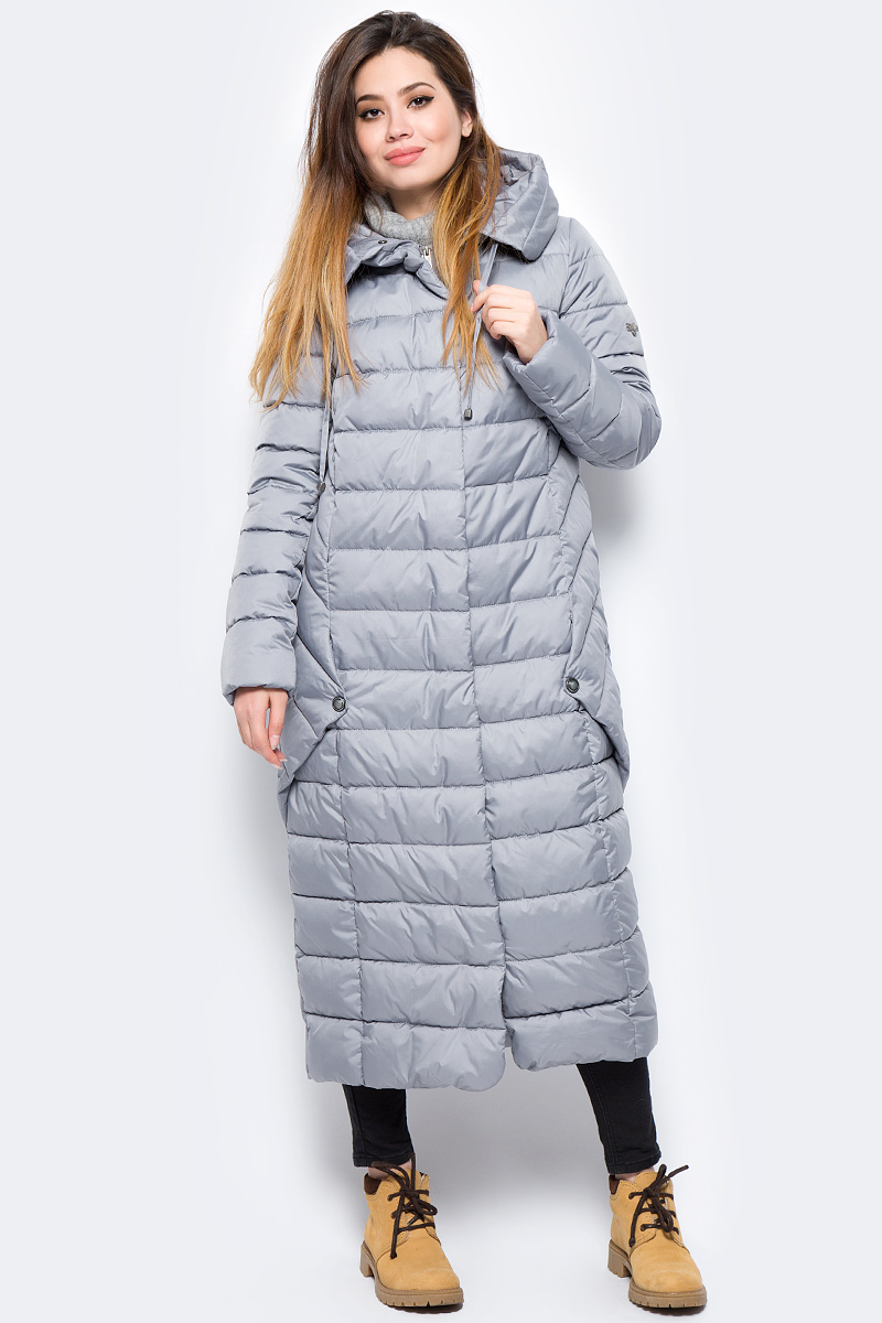 Пальто женское Grishko, цвет: серый. AL-3299. Размер 46AL-3299Ультрамодное пальто от Grishko прямого кроя с оригинальными деталями по бокам, застегивается на молнию и кнопки, карманы прорезные, капюшон не отстегивается.