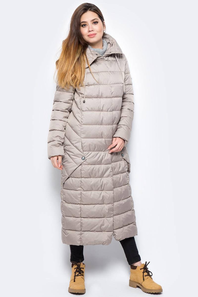Пальто женское Grishko, цвет: бежевый. AL-3299. Размер 48AL-3299Ультрамодное пальто от Grishko прямого кроя с оригинальными деталями по бокам, застегивается на молнию и кнопки, карманы прорезные, капюшон не отстегивается.