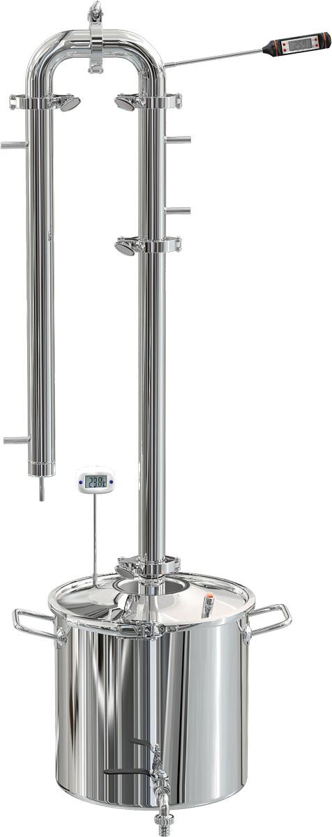 Феникс Сириус дистиллятор, 30 лДистиллятор Феникс Сириус 30 литровСамогонный дистиллятор «Сириус» – это уникальное решение, построенное на базе перегонного куба в виде герметично закрывающейся кастрюли с кламповым соединителем, а также полноценной ректификационной колонны пленочного типа со встроенной регулярной насадкой Панченкова. Такая конфигурация позволяет пользователю получать высококачественный, первоклассный самогон высокой крепости и глубокой очистки без повторного перегона. Конструкция занимает мало места и для получения конечного продукта требуется минимум времени и энергии. Конструктивные элементы и преимущества дистиллятора «Сириус»В первую очередь дистиллятор отличается тем, что поставляется в комплекте с перегонным кубом-кастрюлей из пищевой нержавеющей стали марки AISI 304 со встроенным сливным краном и клапаном сброса избыточного давления. Также в крышку встроен термометр, который позволяет отслеживать температуру паров внутри нее (t-кипения). Многослойное дно толщиной 2 мм обеспечивает быстрое и равномерное распределение температуры, может использоваться на плитах всех типов (кроме индукционных). Уникальным является и способ соединения – все элементы дистиллятора соединяются между собой кламповыми хомутами, поэтому по желанию пользователь может добавлять любые узлы (диоптры, сухопарники и т.п.).Сам дистиллятор состоит из следующих модулей:• Высокая царга со встроенной насадкой Панченкова – сеткой из пищевой нержавейки, которая обеспечивает химический обмен между флегмой и спиртом• Дефлегматор для частичной конденсации и образования флегмы, которая необходима для ректификации• Арка со встроенным термометром для контроля температуры паров на выходе• Трубчатый холодильник проточного типа с высокой производительностью при минимальном расходе водыВ совокупности все эти элементы составляют дистиллятор «Сириус», купить который в нашем магазине можно по цене производителя с гарантией качества и оперативной доставкой. Это уникальное решение для домашнего са