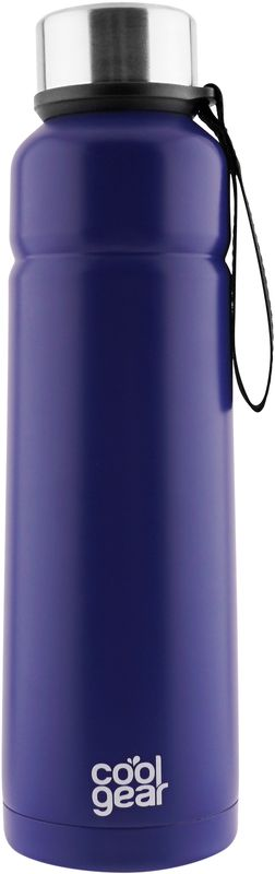Термос CoolGear Cayambe, с вакуумной изоляцией, цвет: синий, 710 мл5001851Термос CoolGear выполнен из нержавеющей стали с вакуумной изоляцией. Модель дополнена встроенным ремнем для переноски и стойкой к ударам крышкой, изготовленной из пластика. Термос прекрасно подойдет для ежедневного использования или занятий спортом.