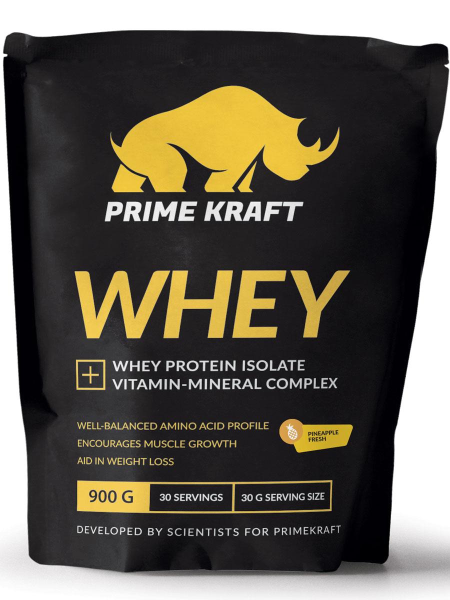 Напиток сухой Prime Kraft Whey, коктейль белково-витаминный, ананас, 900 г протеин prime kraft whey клубника банан