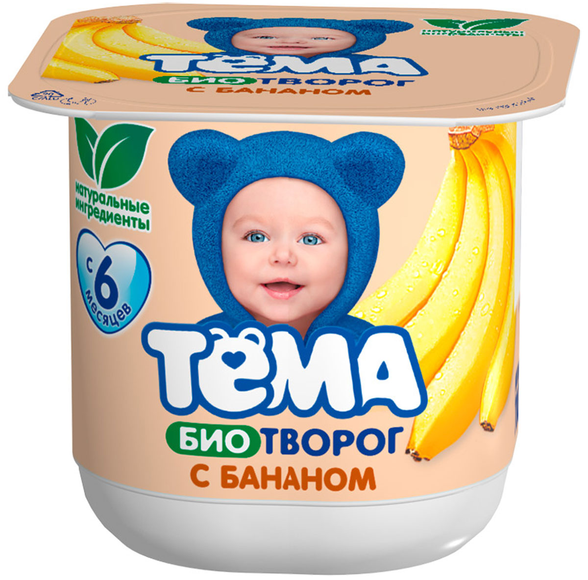 Тема Биотворог Банан 4,2%, 100 г биотворог тёма банан 4 2