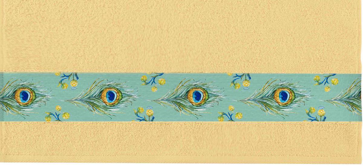 Полотенце банное Aquarelle Фотобордюр. Павлин 1, цвет: желтый, 50 х 90 см. 709815709815Полотенце банное AQUARELLE, размер 50х90см, серия-Фотобордюр павлин 1, желтый