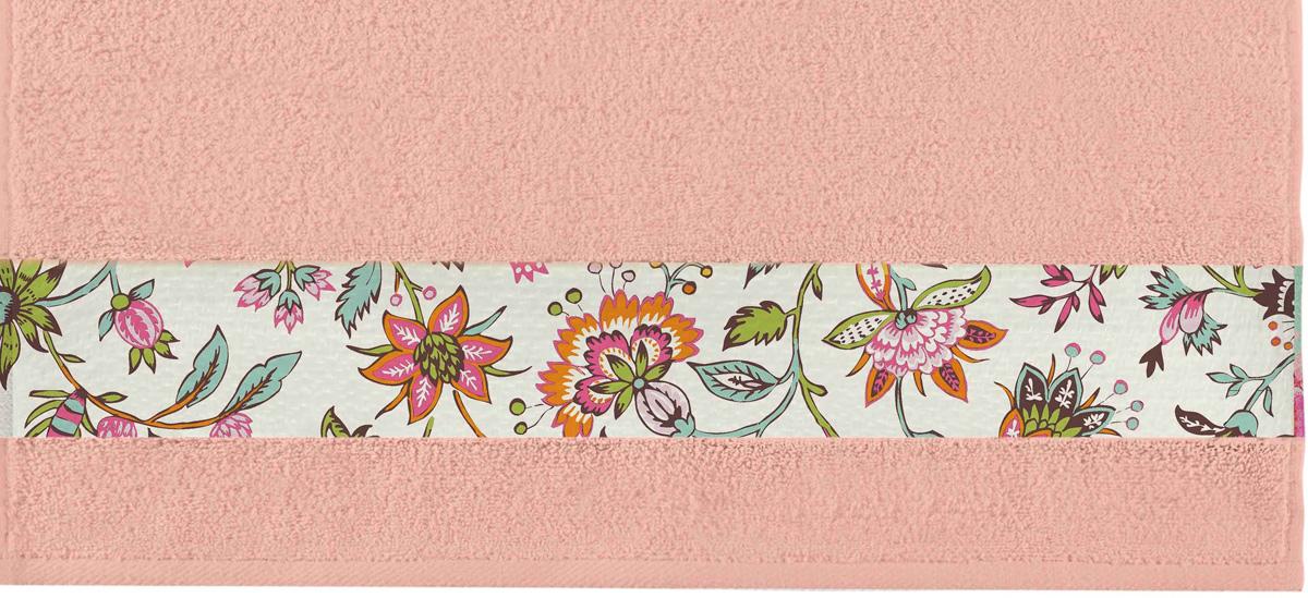 Полотенце банное Aquarelle Фотобордюр. Цветы 2, цвет: розово-персиковый, 70 х 140 см bon appetit кухонное полотенце aquarelle 38х63 см