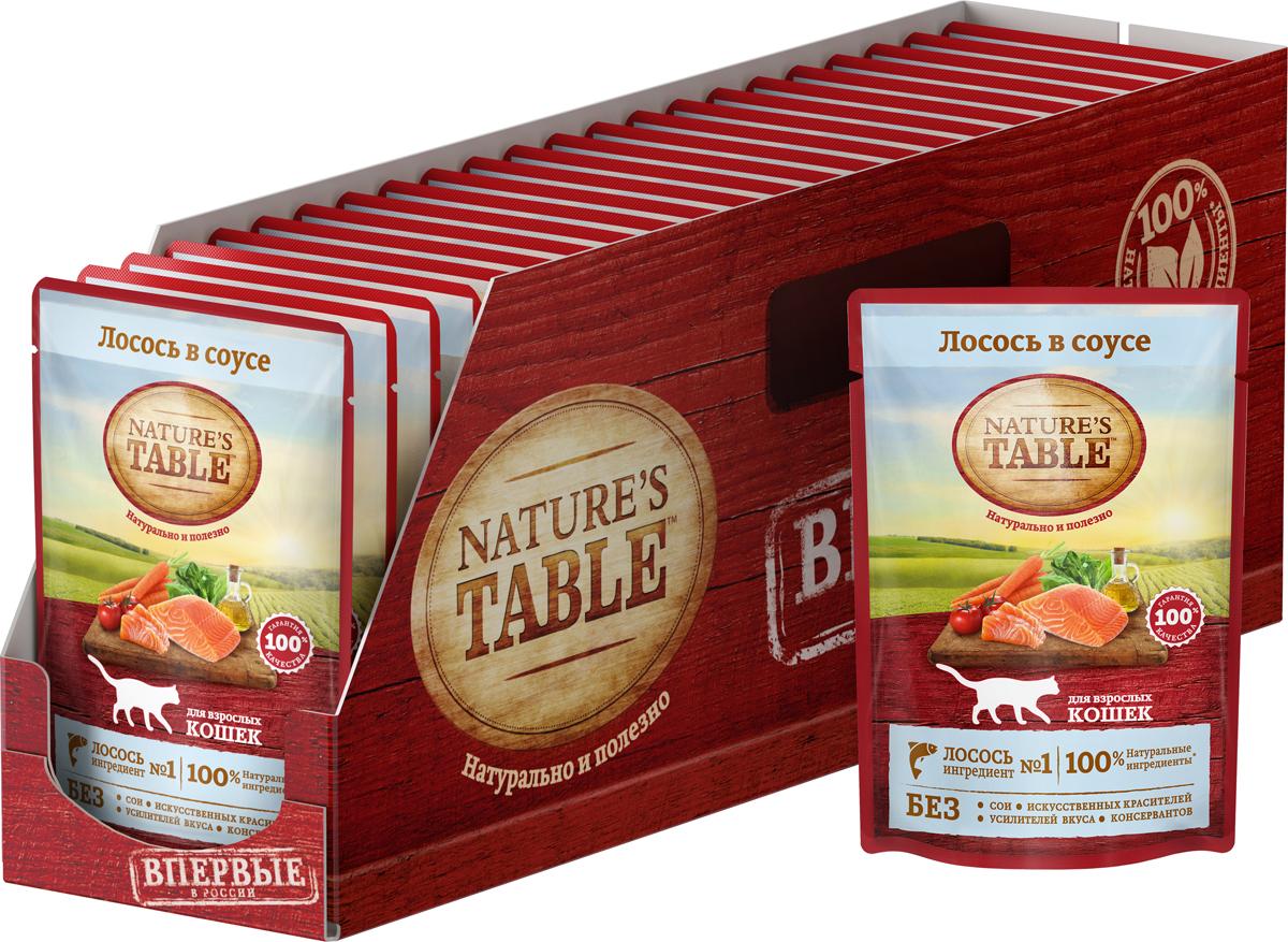 Консервы для кошек Nature`s Table, лосось в соусе, 85 г х 24 шт80945Nature's Table - это натурально и полезно!Рацион Nature`s Table Курица в соусе содержит на 100% натуральные ингредиенты самого высокого качества, получаемые от проверенных поставщиков:- ингредиент № 1 – курица – источник животного белка с высокой усвояемостью и основа здорового рациона кошки;- натуральные овощи и злаки содержат углеводы и клетчатку для здорового пищеварения;- подсолнечное масло и рыбий жир – источники омега-3 и омега-6 кислот, витаминов А, D, E для естественного здоровья кожи и блестящей шерсти;- БЕЗ сои, искусственных красителей, усилителей вкуса и консервантов.Nature`s Table – вся польза природы для вашей кошки, чтобы она радовала вас здоровьем и красотой день за днем!Состав: лосось, говядина, курица, масла и жиры, злаки, витамины и минеральные вещества, овощи (сухая мякоть сахарной свеклы, морковь, томаты, шпинат). Наличие нескольких видов протеинов (лосось, говядина, курица) обеспечивает сбалансированную формулу рациона.Не содержит сои, искусственных красителей, усилителей вкуса и консервантов.