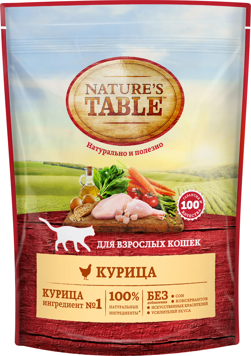 Сухой корм Natures Table, курица, 190 г80940Рацион Natures Tablе Курица в соусе содержит на 100% натуральные ингредиенты самого высокого качества, получаемые от проверенных поставщиков: - Курица – источник животного белка с высокой усвояемостью и основа здорового рациона кошки; - Натуральные овощи и злаки содержат углеводы и клетчатку для здорового пищеварения; - Подсолнечное масло и рыбий жир – источники омега-3 и омега-6 кислот, витаминов А, D, E для естественного здоровья кожи и блестящей шерсти; Natures Tablе – вся польза природы для вашей кошки, чтобы она радовала вас здоровьем и красотой день за днем!Не содержит сои, искусственных красителей, усилителей вкуса и консервантов.Товар сертифицирован. ЗОЖ для кошек и собак: натуральное питание – статья на OZON Гид.
