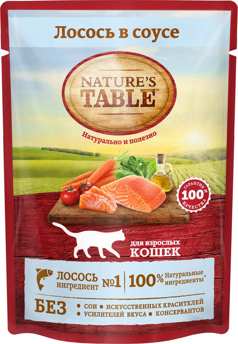 Консервы для кошек Nature`s Table, лосось в соусе, 85 г nature s купить
