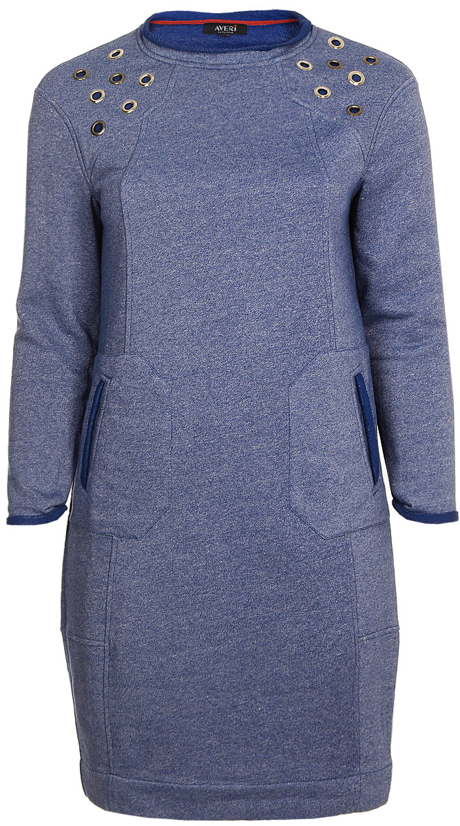 Платье Averi, цвет: синий меланж. 1343_329. Размер 62 (66)1343_329Оригинальное платье из хлопка. С рельефами и плечевыми кокетками с люверсами. Накладные карманы с листочкой. Подходит для девушек любого возраста, обеспечивает комфорт и легкость движениям, незаменим при создании модных динамичных образов в городском непринужденном стиле.