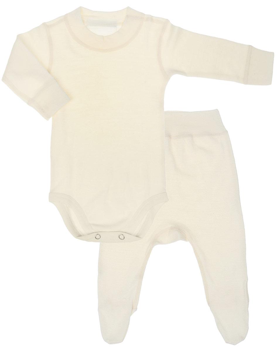 Комплект термобелья для новорожденного Dr. Wool: боди, ползунки, цвет: молочный. DWKL 31112. Размер 68/74DWKL 31112Комплект термобелья для новорожденного Dr. Wool, состоящий из боди и ползунков, незаменим в холодную погоду. Однослойное термобелье для малышей станет отличным вариантом в прохладную и холодную погоду. Белье можно носить самостоятельно или в качестве первого слоя. Шерсть австралийских мериносов хорошо сочетается с любой верхней одеждой. Мягкое и комфортное термобелье заботится о нежной коже вашего малыша: резинки, манжеты и швы не натирают кожу. Изделие поддерживает естественный микроклимат тела и регулирует влажность.