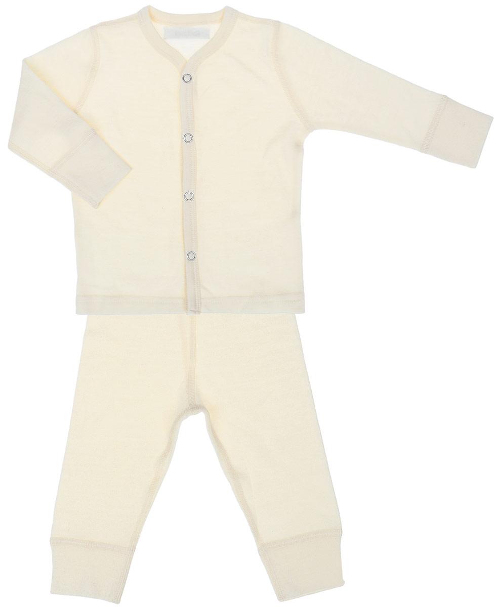 Комплект термобелья для новорожденного Dr. Wool: кофточка, штанишки, цвет: молочный. DWKL 30115. Размер 56/62DWKL 30115Комплект термобелья для малышей станет отличным вариантом в прохладную и холодную погоду. Белье можно носить самостоятельно или в качестве первого слоя. Шерсть австралийских мериносов хорошо сочетается с любой верхней одеждой. Мягкое и комфортное термобелье заботится о нежной коже вашего малыша: резинки, манжеты и швы не натирают кожу. Изделие поддерживает естественный микроклимат тела и регулирует влажность.