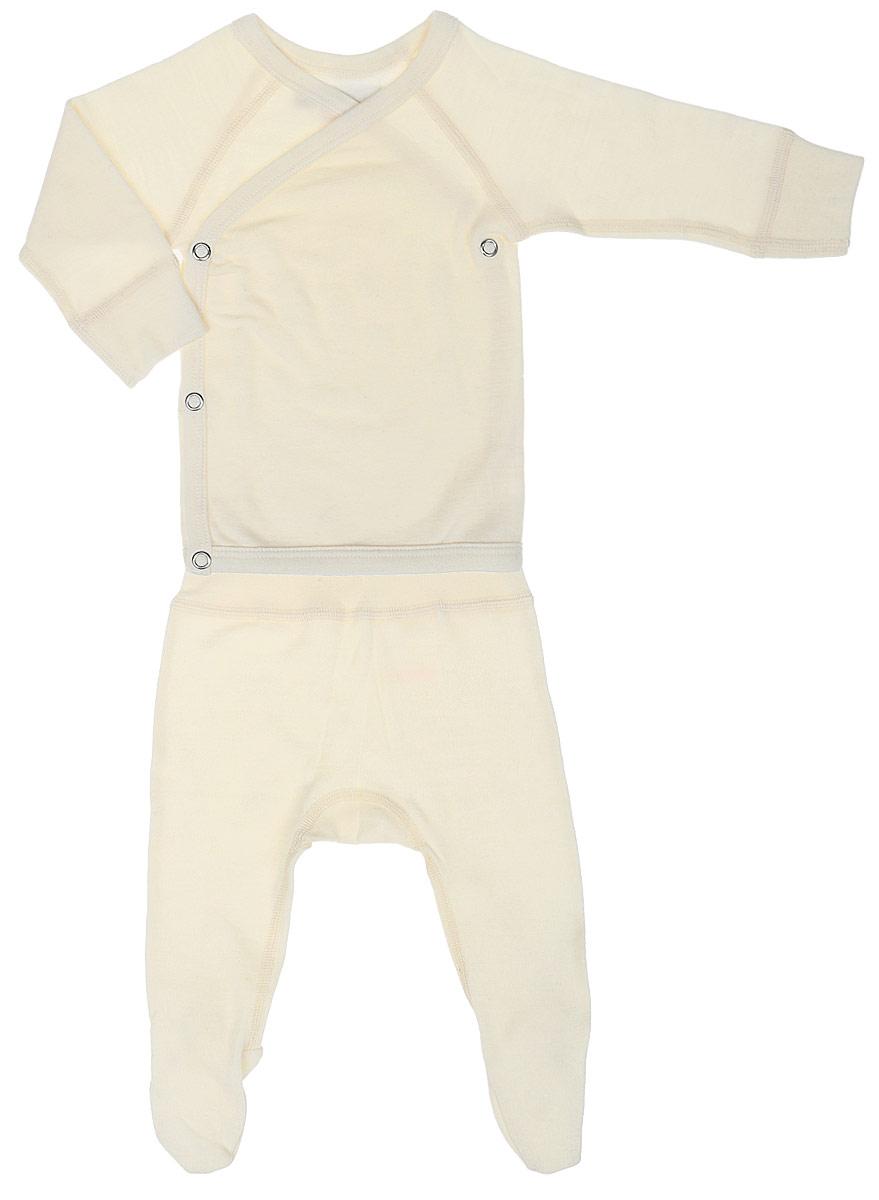 Комплект термобелья для новорожденного Dr. Wool: ползунки, кофточка, цвет: молочный. DWKL31412 . Размер 56/62DWKL31412Плотность 180 г/м2 Однослойное Мультисезонные комплект термобелья для малышей станет отличным вариантом в прохладную и холодную погоду. Белье можно носить самостоятельно или в качестве первого слоя. Шерсть австралийских мериносов хорошо сочетается с любой верхней одеждой. Мягкое и комфортное термобелье заботится о нежной коже вашего малыша: резинки, манжеты и швы не натирают кожу. Изделие поддерживает естественный микроклимат тела и регулирует влажность. За бельем несложно ухаживать: его можно стирать в машине. Материал экологически чистый, безопасен для вашего малыша.