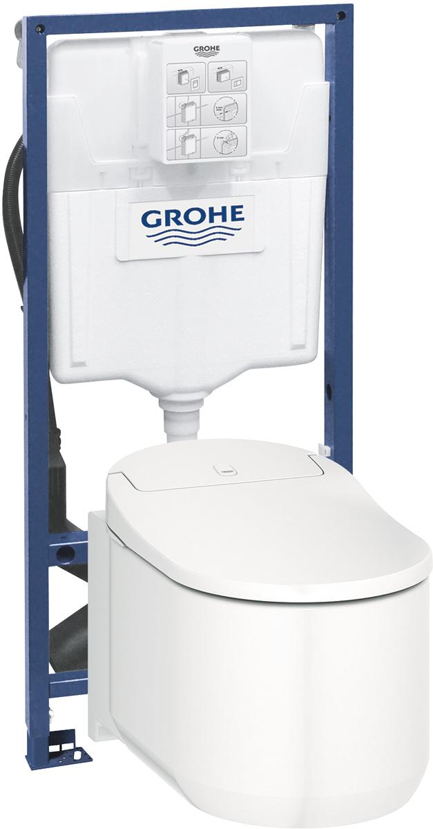 Унитаз-биде Grohe Sensia Arena, цвет: белый39354SH0GROHE Hygiene антибактериальное и грязеотталкивающее покрытие в соответствии со стандартом SIAA Kokin и технологией Aquaceramics. GROHE power flush: безободковый унитаз с технологией GROHE Triple Vortex. GROHE Skin Clean: - 2 регулируемые штанги (1 стандартная, 1 дамская)- дамский душ с отдельной подачей воды- массажный режим струи- пульсирующий режим струи- регулировка напора воды- автоматическая промывка до и после использования- встроенный проточный нагреватель обеспечивает беспрерывную подачу теплой воды- регулируемая температураДругие функции:- режим «фен» с регулировкой температуры - удаление запахов через встроенный фильтр- Сиденье и крышка из дюропласта с функцией автоматического открытия/закрытия- инфракрасный датчик - панель управления на корпусе устройства- вкл./выкл. устройства- внутренняя подсветка- встроенный подвод воды и электропитание- пульт управление с iOS и Android App- приложение iOS для смартфоновВ комплекте: шумоизоляция, установочные элементы и шайбы в комплектепульт управления с настенным держателем угольный фильтрнабор для подключения водызаглушкакабель электропитаниядавление 0.05 - 1 MPa (0.5 - 10 бар) напряжение 220-240 V частота 50-60 Hz тип защиты IPX4 в соответствии с EN 1717 Одобрено в СE
