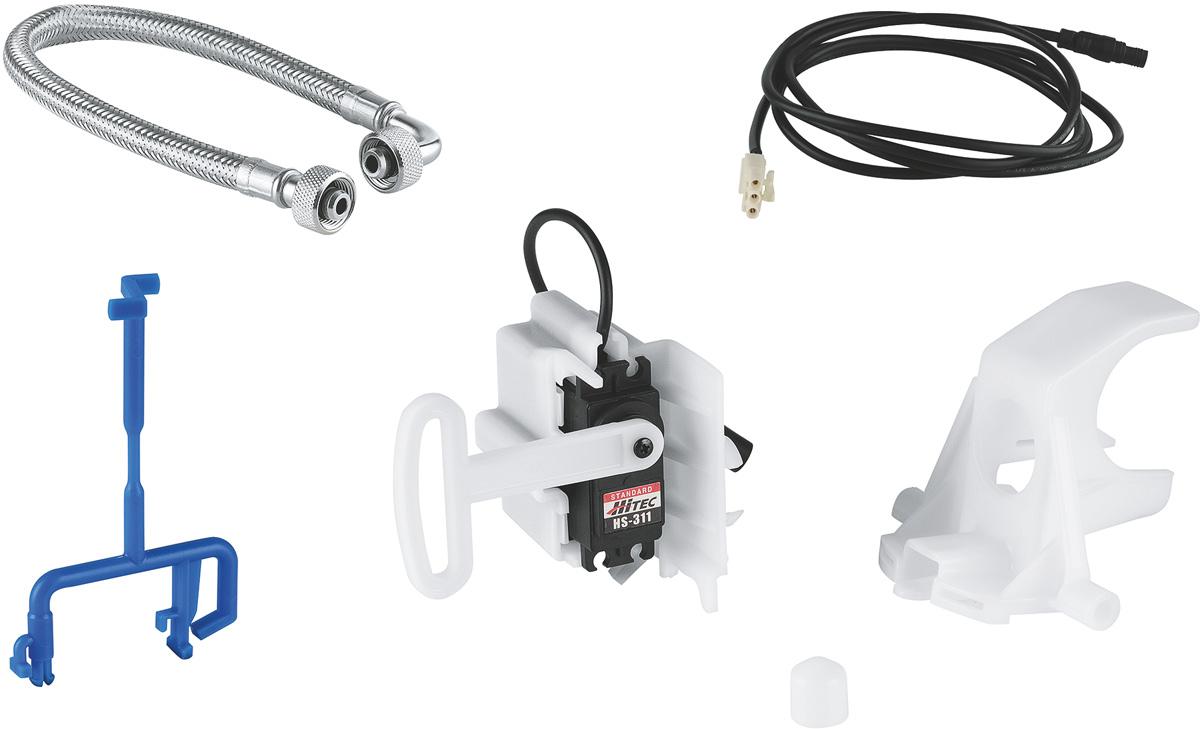 Включает в себя: серво мотор для сливного бачка GD 2  тяга для сливного клапана  кабель + колпак  гибкий шланг  панель смыва для унитаза не включена в комплект  Одобрено в СE